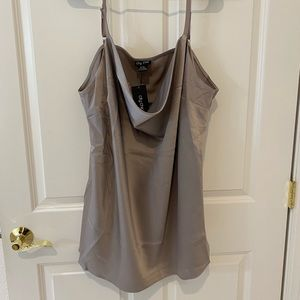 City Chic Cowl Neck Cami-oyster (silver)
